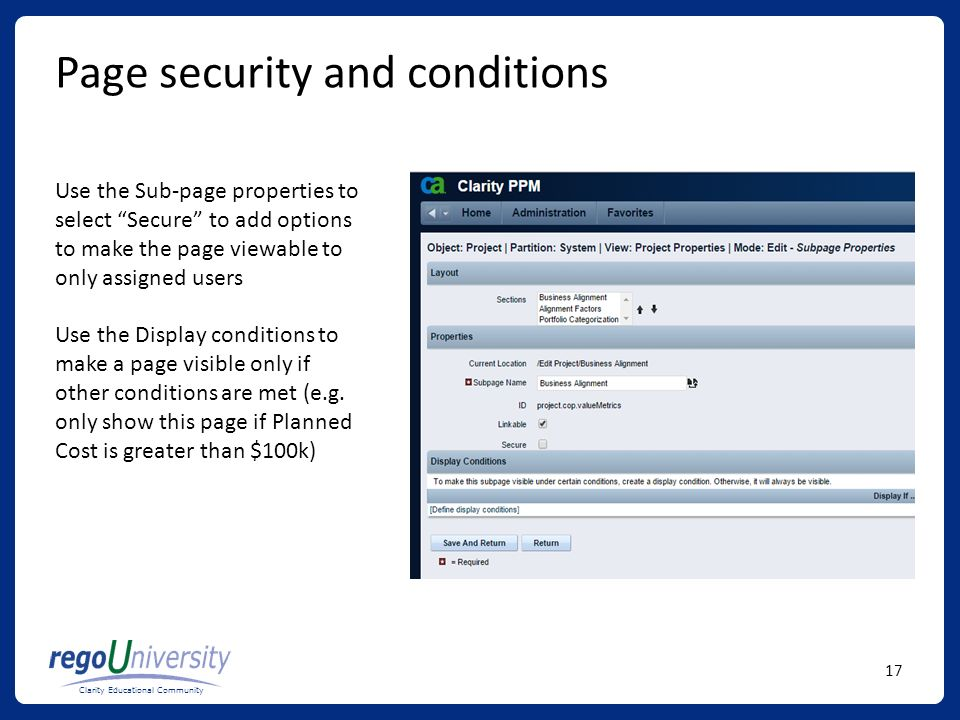 Page security and conditions