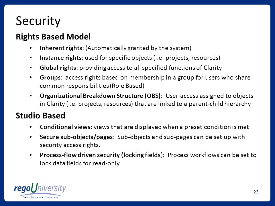 Security Rights Based Model Studio Based