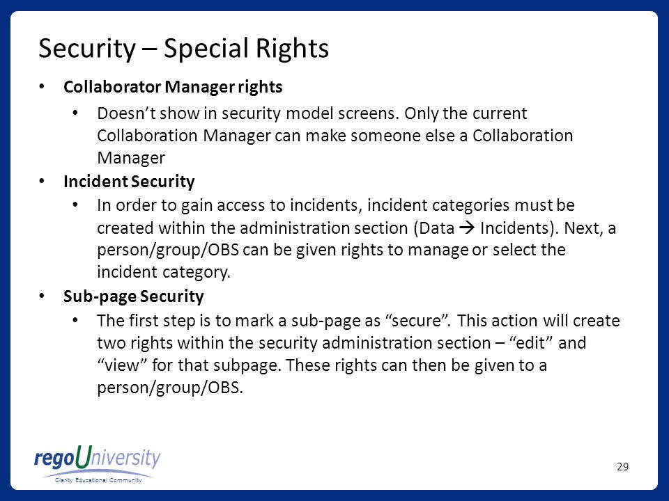 Security – Special Rights