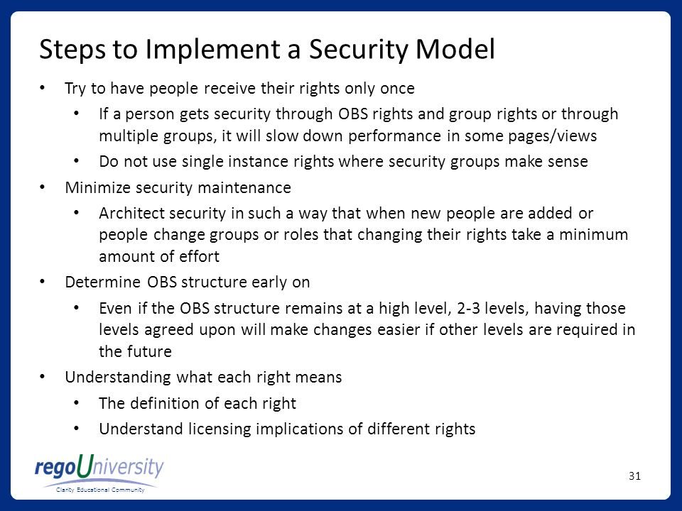 Steps to Implement a Security Model