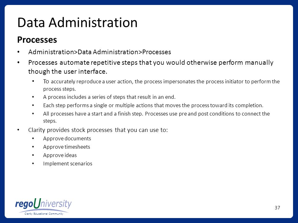 Data Administration Processes