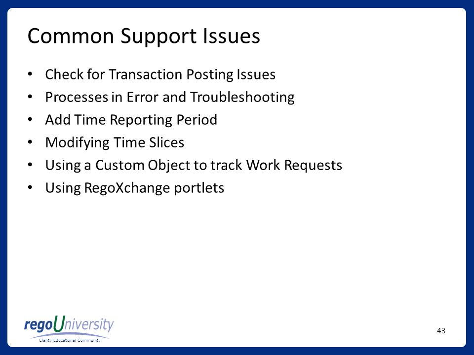 Common Support Issues Check for Transaction Posting Issues