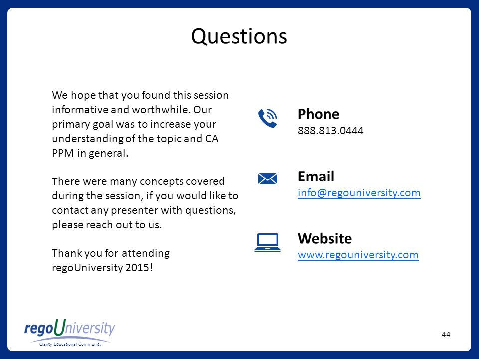 Questions Phone Email Website