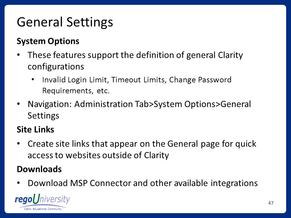 General Settings System Options