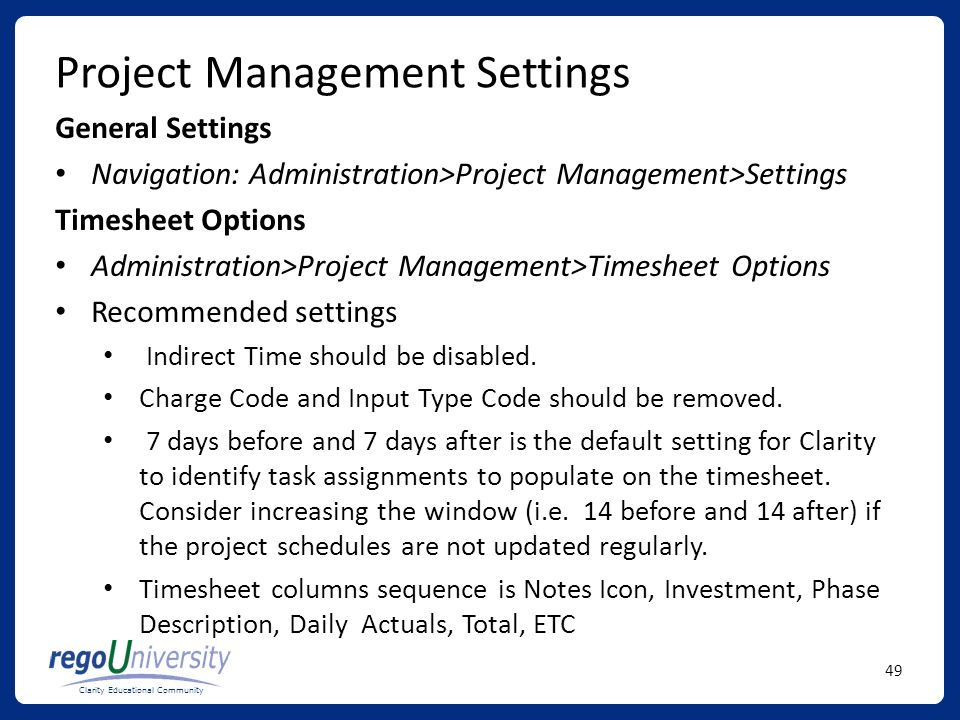 Project Management Settings