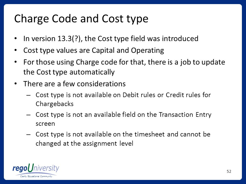 Charge Code and Cost type