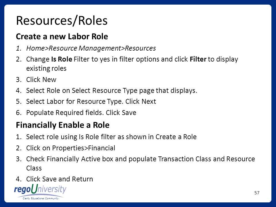Resources/Roles Create a new Labor Role Financially Enable a Role