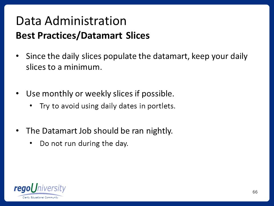 Data Administration Best Practices/Datamart Slices