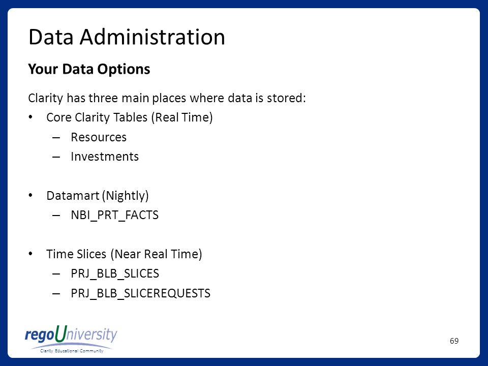 Data Administration Your Data Options