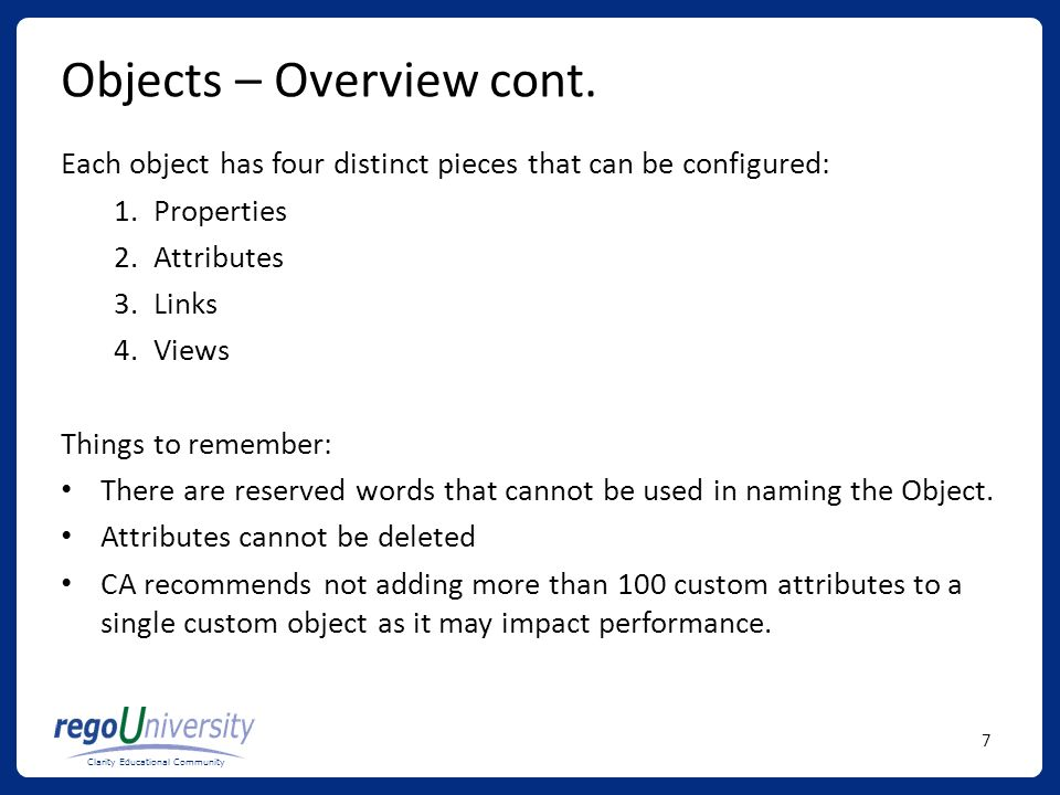 Objects – Overview cont.