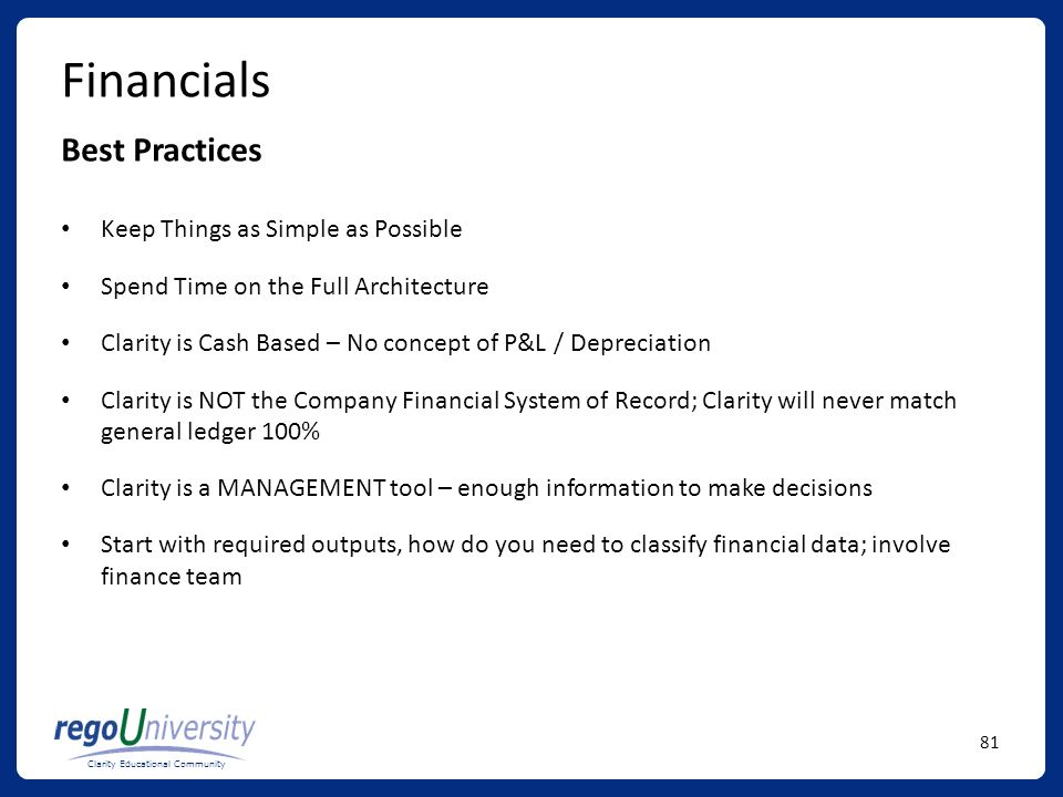 Financials Best Practices Keep Things as Simple as Possible