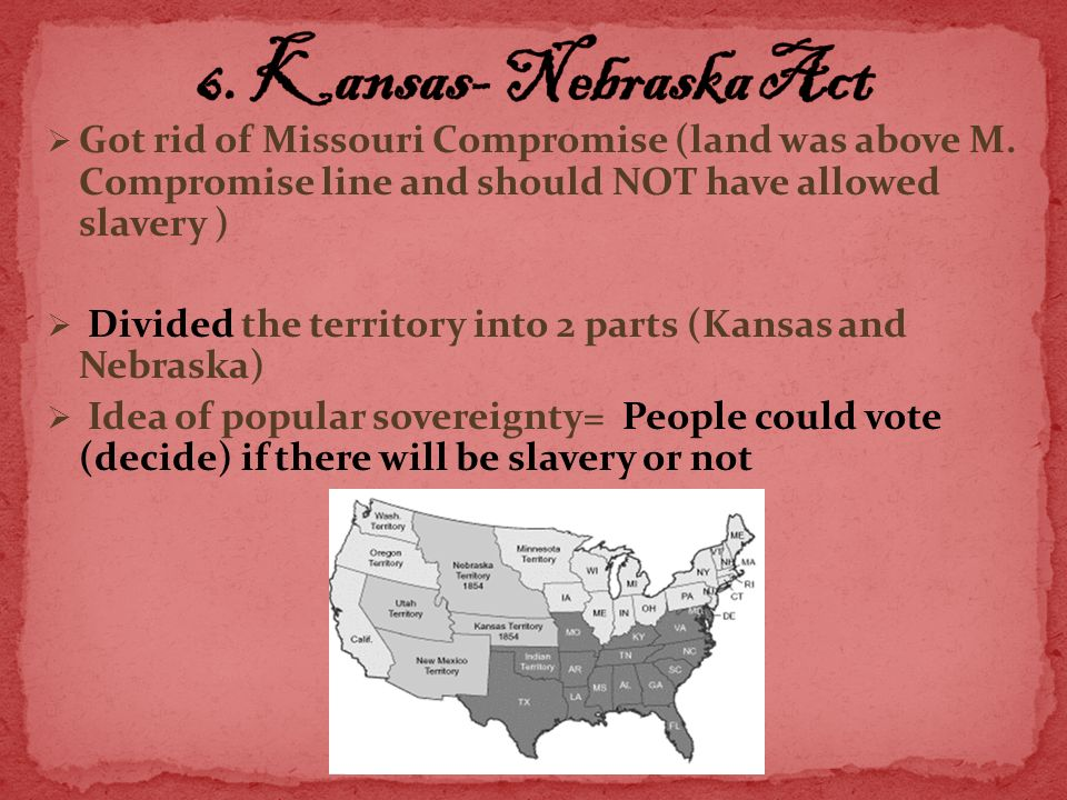 an analysis of what caused the popular missouri compromise Sectionalism, popular sovereignty, and secession grades:  have students map the regions affected by the missouri compromise, the compromise of 1850, the kansas .