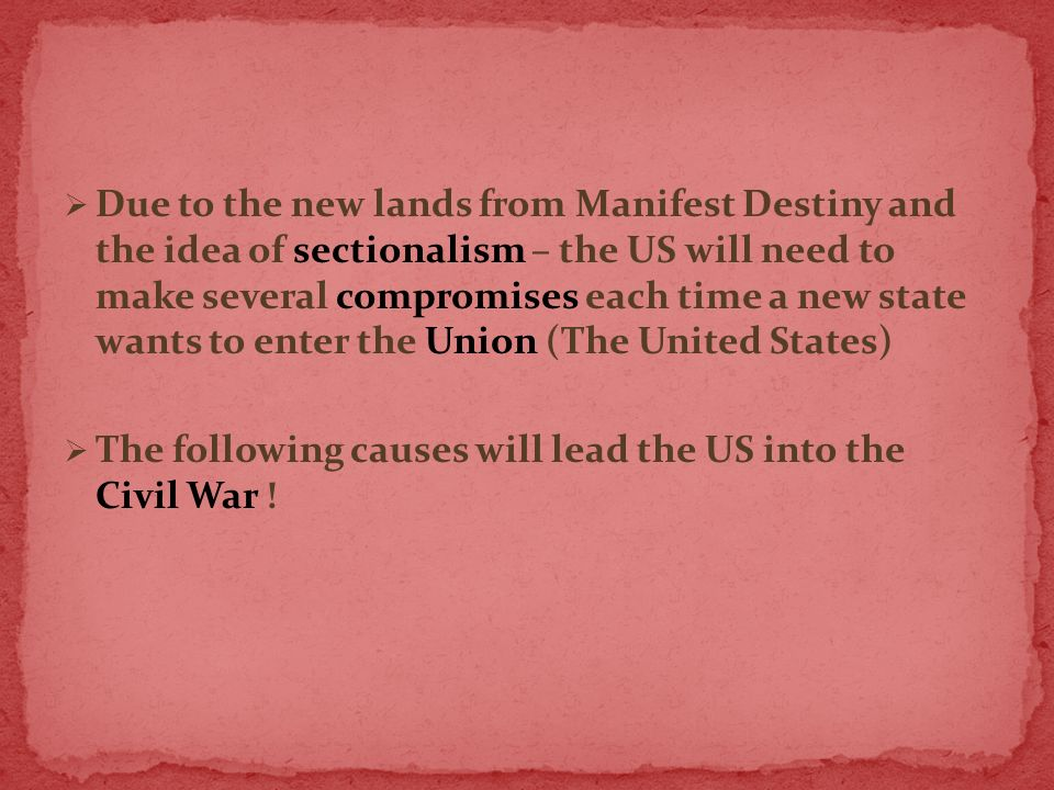 sectionalism essay Sectionalism versus nationalism and the era of good feelings essay - after the war of 1812, there was a strong sense of nationalism since the young united states had won a war against the powerful british army.