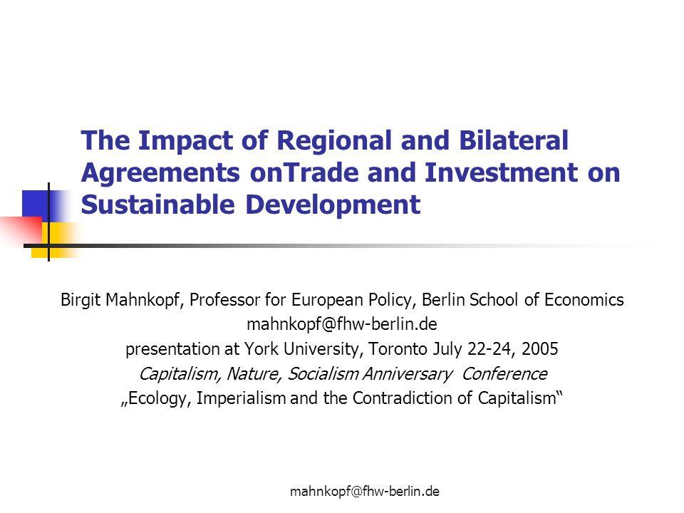 The impact of regional and bilateral agreements ontrade and the impact of regional and bilateral agreements ontrade and investment on sustainable development platinumwayz