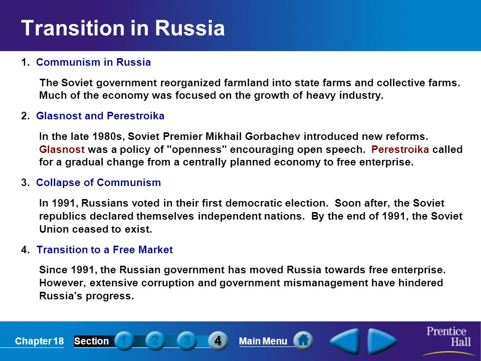 Transition in Russia 1. Communism in Russia