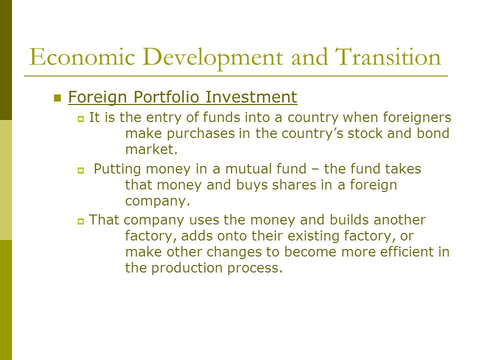 Economic Development and Transition