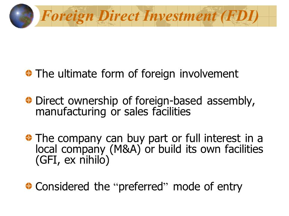 advantages and disadvantages of different types of direct and indirect foreign investments Advantages and disadvantages of direct and indirect into a foreign market, direct export also has its advantages and disadvantages thus, direct export is.