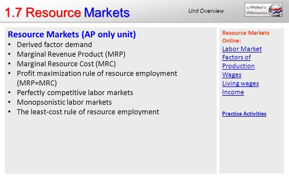 1.7 Resource Markets Resource Markets (AP only unit)