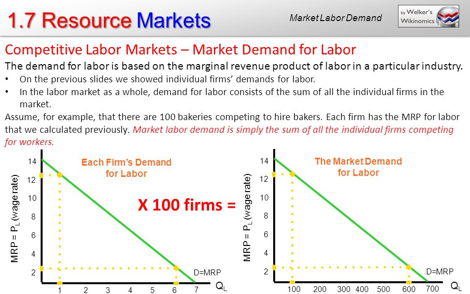 Each Firm's Demand for Labor The Market Demand for Labor