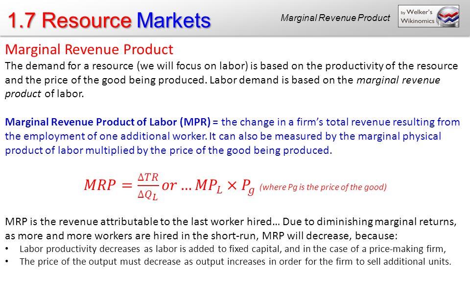 1.7 Resource Markets Marginal Revenue Product