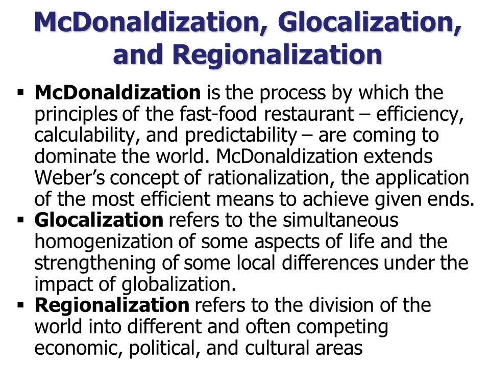 globalisation vs regionalisation Globalization is the extension and integration of cross-border international trade, investment and culture.
