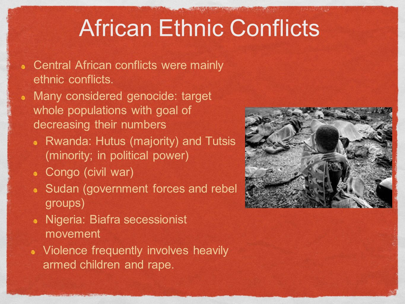 ethnic conflict in africa essays - ethnic conflict in the middle east ethnic conflicts are well rooted in the world's history and perhaps inherent in human nature this type of conflict is difficult to resolve as is evident in the situation in the middle east.