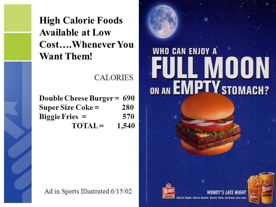 High Calorie Foods Available at Low Cost….Whenever You Want Them!