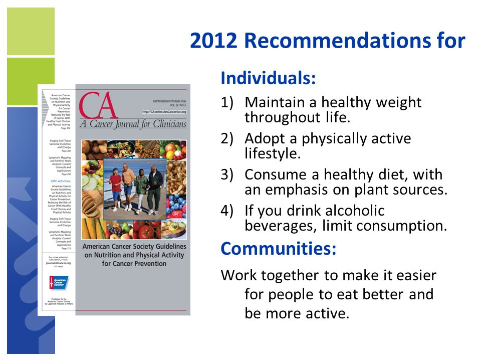 2012 Recommendations for Individuals: Communities: