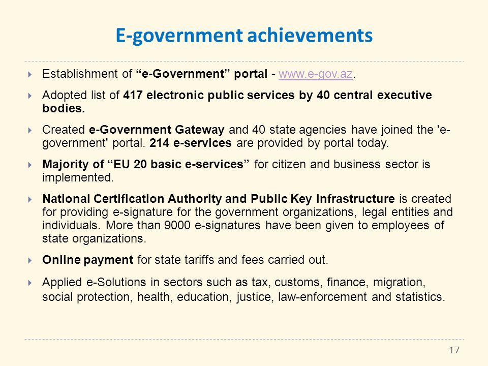 E-government achievements