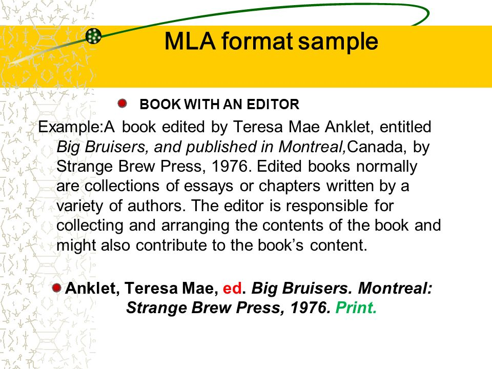 mla format book with essays Formatting a research paper  this format is sometimes called hanging indention, and you can set your writing program to create it automatically for a group of.