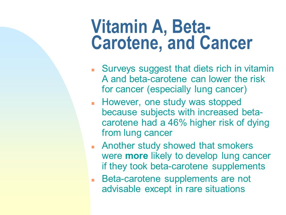 Beta carotine cancer risk in smokers