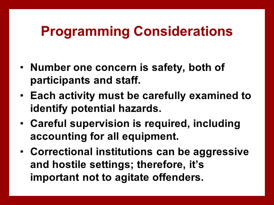 Programming Considerations