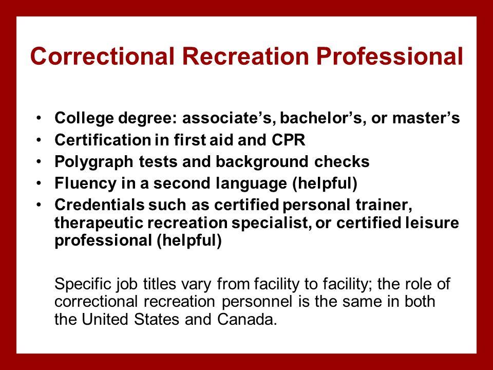 Correctional Recreation Professional