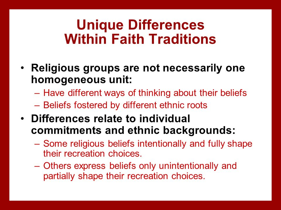 Unique Differences Within Faith Traditions