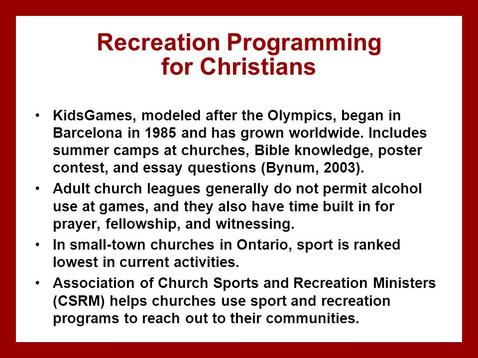 Recreation Programming for Christians