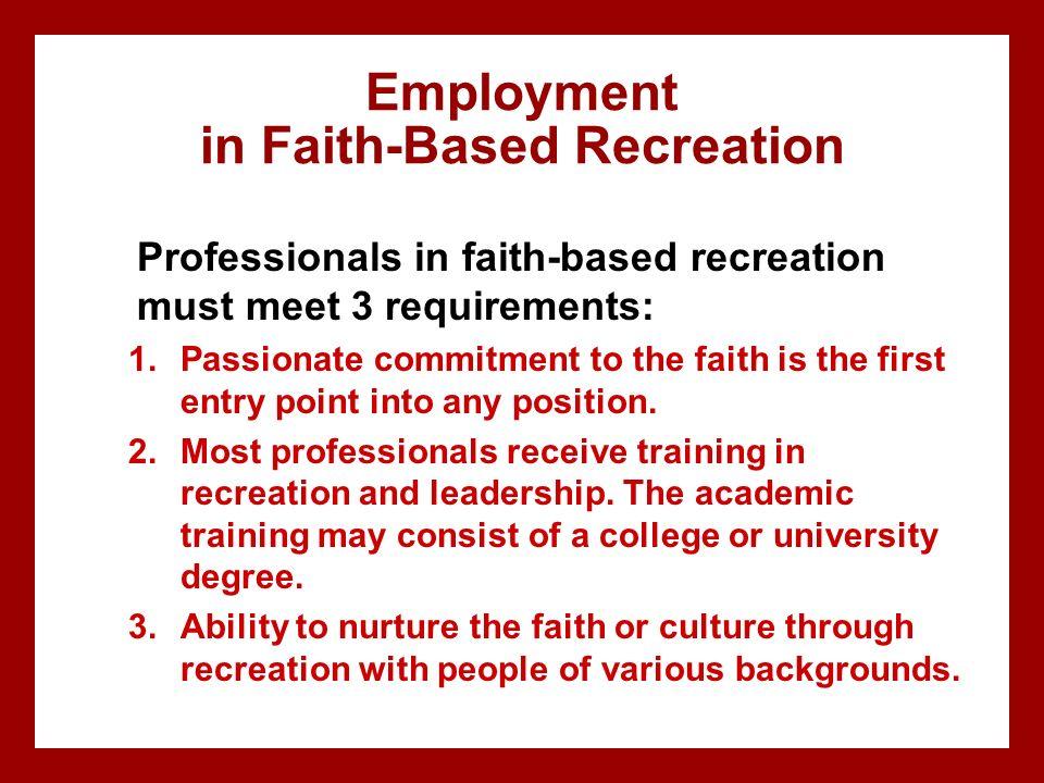 Employment in Faith-Based Recreation