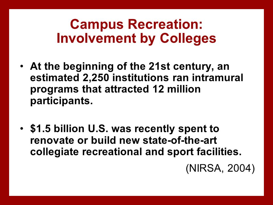 Campus Recreation: Involvement by Colleges