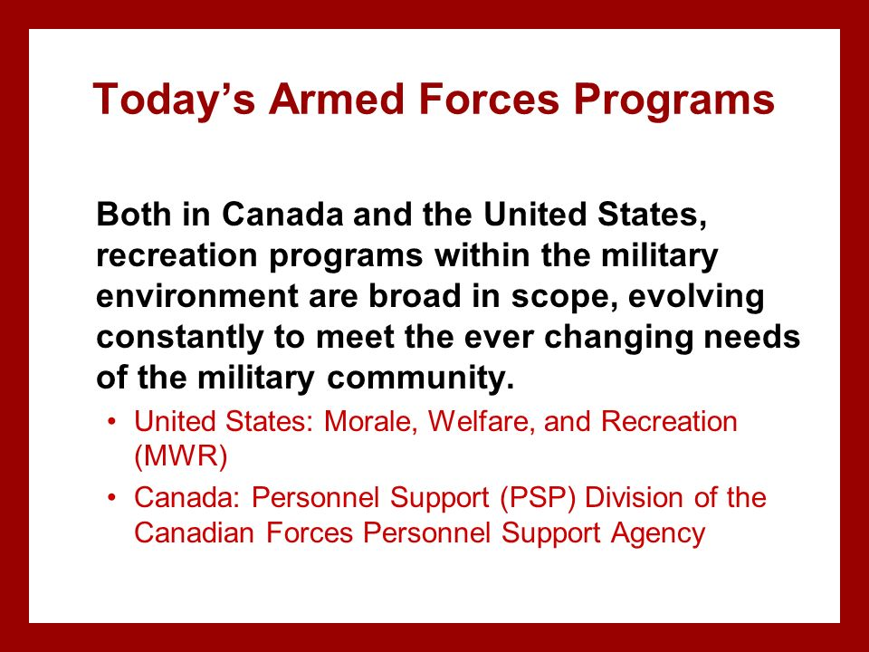 Today's Armed Forces Programs