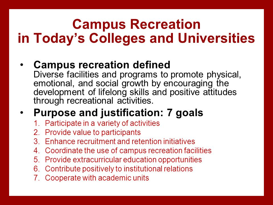 Campus Recreation in Today's Colleges and Universities