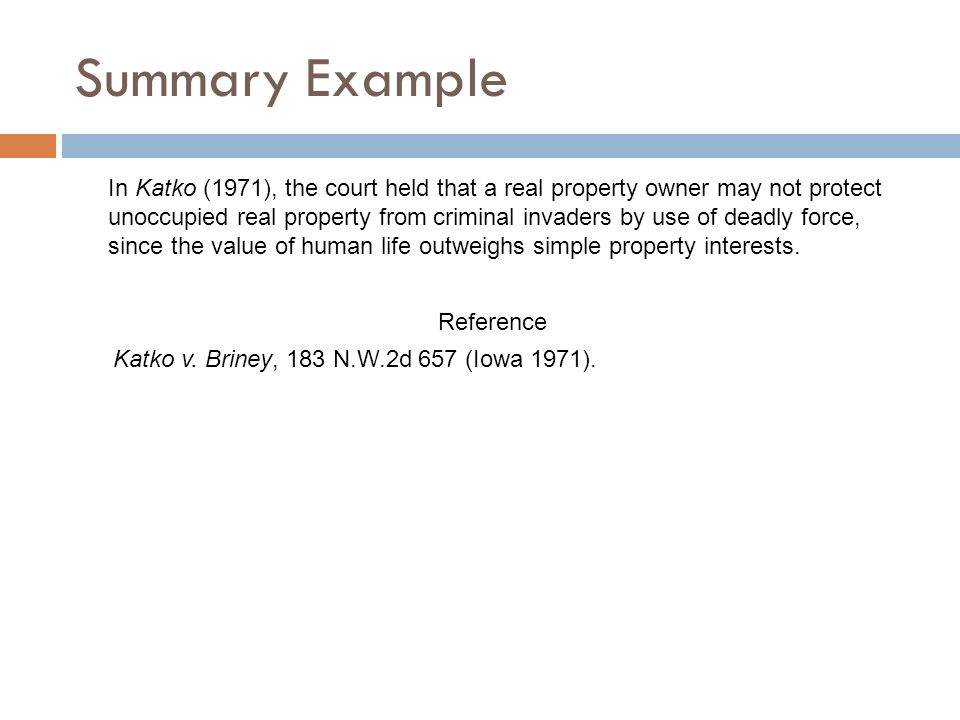 katko v briney tort case essay Distinguish intentional torts from other kinds of torts  in katko v briney, for example, the plaintiff was injured by a spring gun while trespassing on the defendant's property katko v  involve harm to the physical person or to his or her property, reputation or feelings, or economic interests in each case of intentional tort, the.