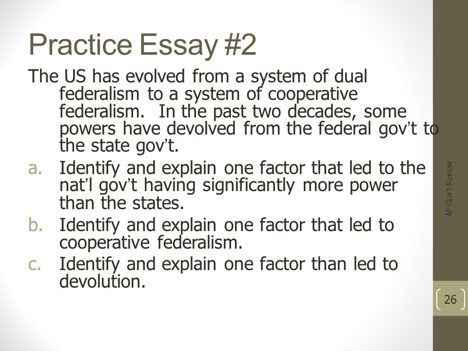 cooperative federalism essay Homework question on differences between cooperative federalism and dual federalism describe the differences between cooperative federalism and dual federalism as well as the four specific forces outlined by the book that alter the state/national government.