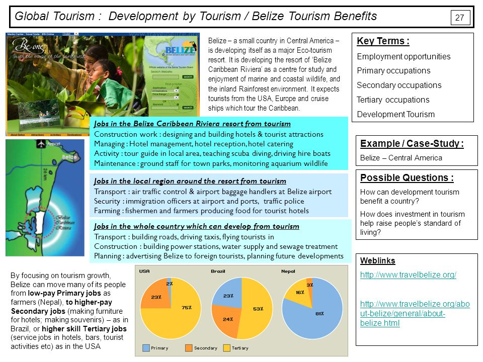 Development by tourism ppt video online download global tourism development by tourism belize tourism benefits sciox Images