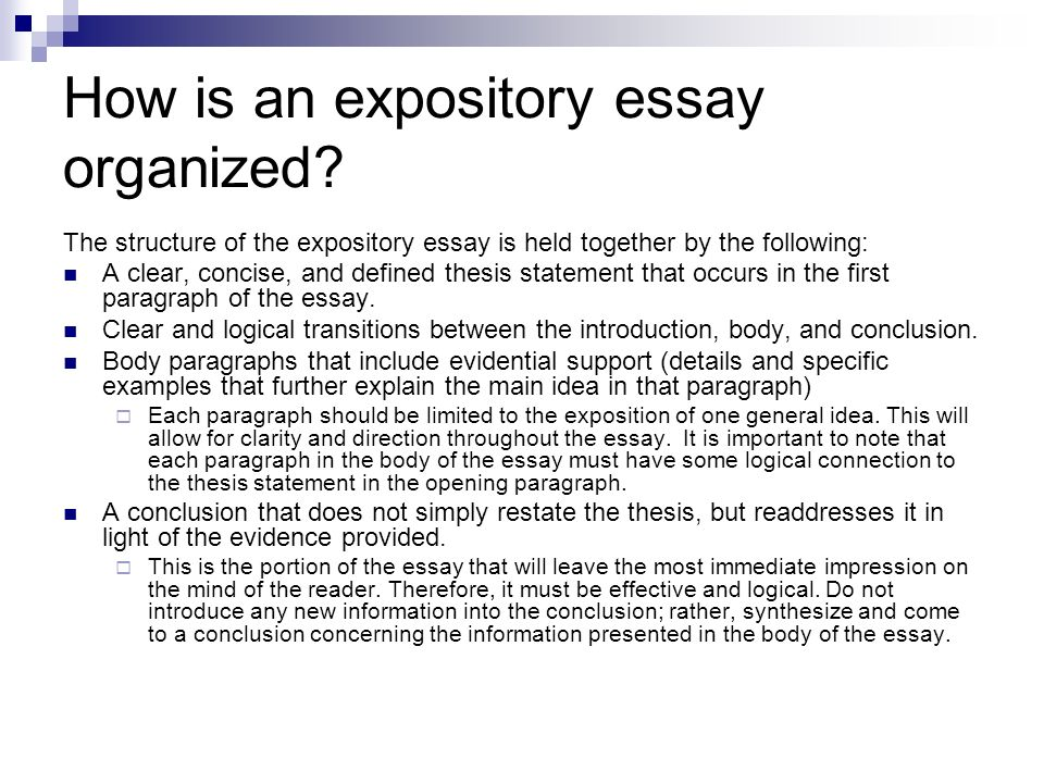 expository essay with thesis statement An expository essay, often required in high school and college classes, allows you to explore an opinion or make an argument about a particular idea the thesis statement usually appears at the end.