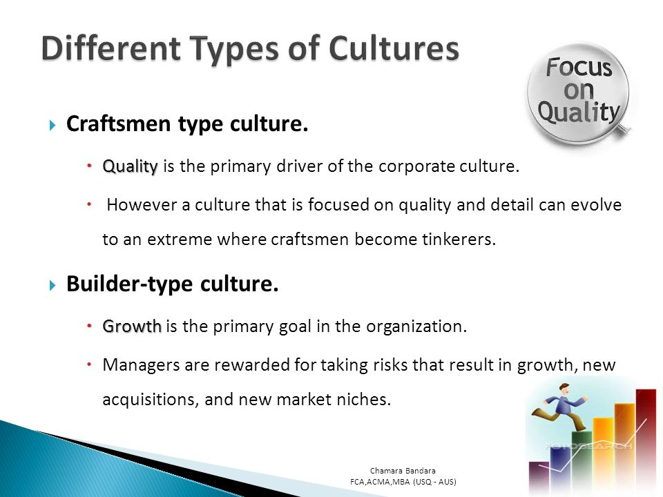 the different types of culture in The cultural differences between these two groups may be a source of conflict in some workplace issues when there's disagreement about theory versus practice in achieving organizational goals.
