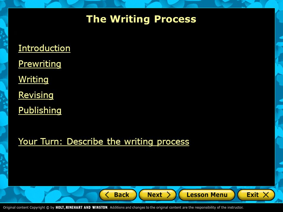 "the writing process revising Your subsequent drafts will probably merge elements of the writing stage and the revising stage whoever invented ""the writing process"" was a genius."