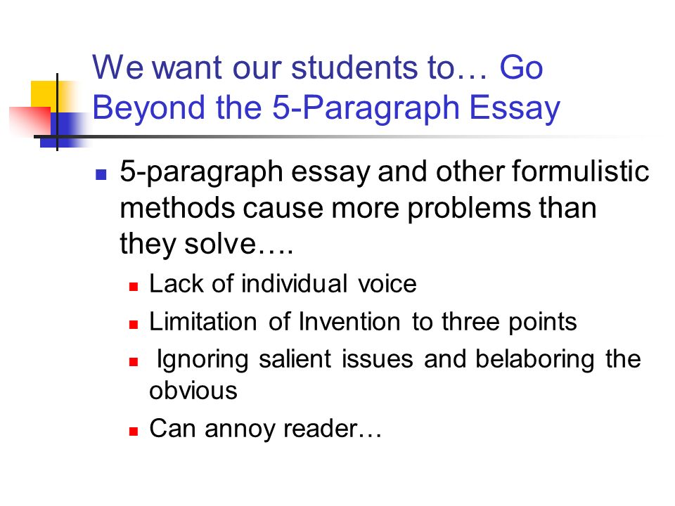 going beyond the 5 paragraph essay Going beyond the five paragraph essay write better essays now - writing essay ad correct all writing mistakes and plagiarism in your essays now.