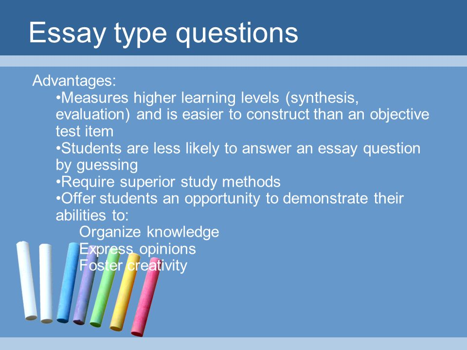 different types of essay test The optional act writing test is an essay test that measures writing skills taught in high school english classes and entry level college composition courses.