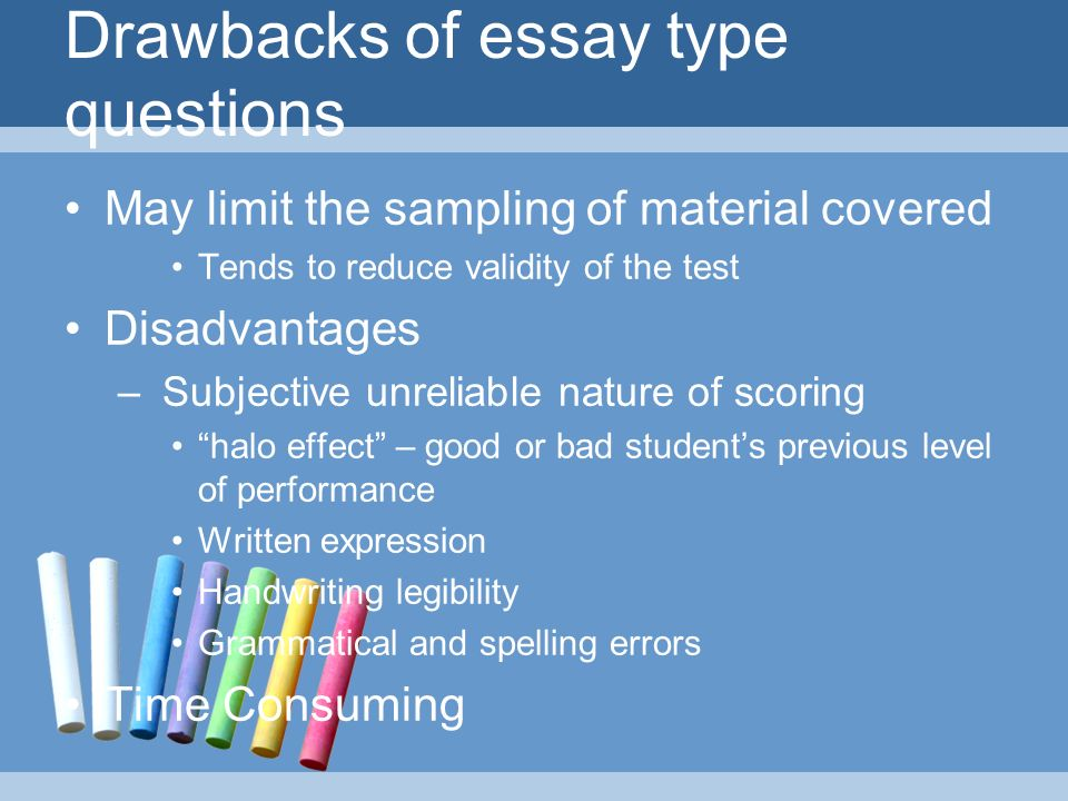 disadvantages of essay type test To begin out discussion of advantages and disadvantages of essay and objectives types of test relative merits of each type of test item,.