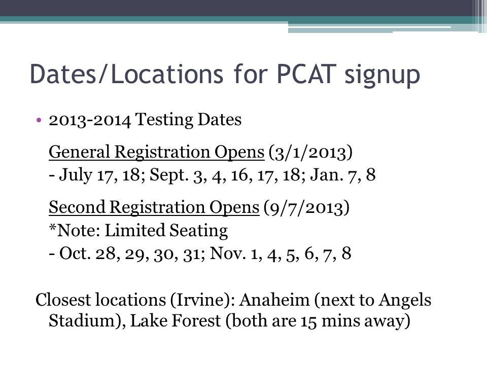 Pcat test dates in Melbourne