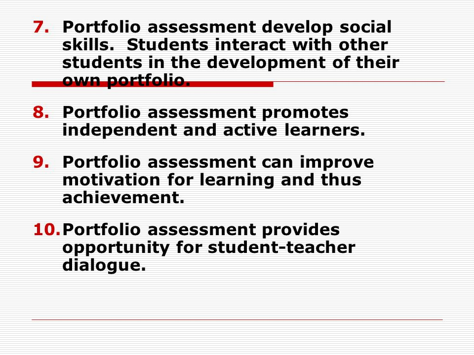 PORTFOLIO ASSESSMENT METHODS - ppt video online download